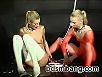 BDSM with sluts in nets and latex stockings