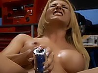 Slut uses a vibrator in her twat