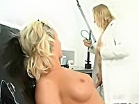 Blond  femdom mistress fists and dildos guy