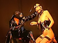 Hot blond in bondage restraints has sex