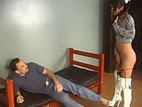 Brunette shemale sucks her man's cock deep