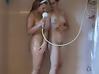 College girlfriends take a naughty shower together