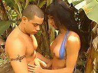 Lovely brunette shemale naked outdoors