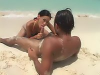Beach sex with bikini clad latina