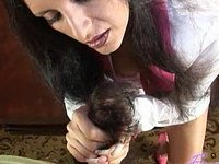 Busty latina sucks cock eats cumshot