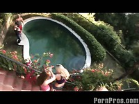 Poolside girls splashed with cum!
