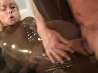 Blonde banged in latex and naked