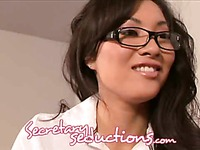 Asian secretary Asa Akira spreads for boss