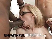 Two black dicks for  wife in glasses