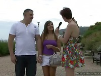 Couple seduced by horny Lara