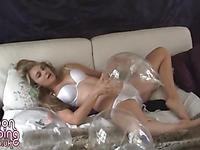Topless teen girl with balloon