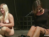 Fun with two sexy naked slave girls