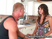 Slim latina gets slammed in the kitchen