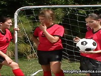 Three girls share coach's dick outdoors