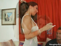 Horny milf Amy Fisher with big boobs and bald puss