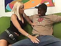MILF Tabitha spreads pussy wide for black cock